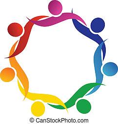 logo, symbol, uścisk, teamwork