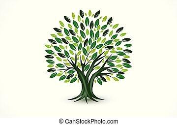 logo, symbol, wektor, ekologia, drzewo