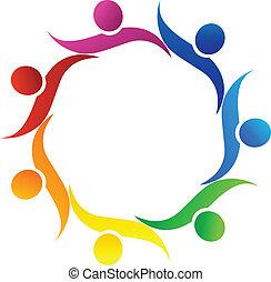 logo, symbol, wektor, teamwork, uścisk