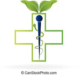 logo, symbol, zdrowie, kaduceusz, natura