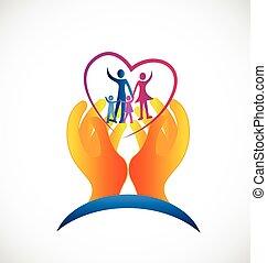 logo, symbol, zdrowie, rodzina, troska