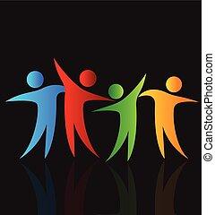 logo, szczęśliwy, dzielenie, czas, ludzie