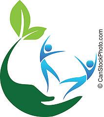 logo, szczęśliwy, ludzie, zdrowy