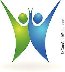 logo, szczęśliwy, powodzenie, ludzie
