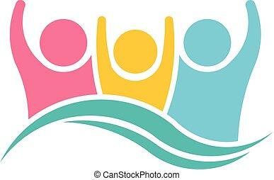 logo, szczęśliwy, projektować, rodzina, ludzie