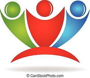 logo, szczęśliwy, przyjaźń, ludzie