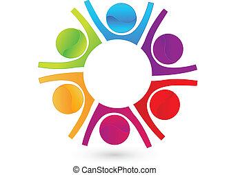 logo, szczęśliwy, teamwork, handlowy zaludniają