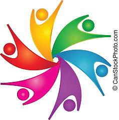 logo, szczęśliwy, teamwork, ludzie