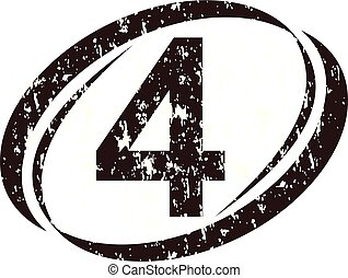 logo, szorstki, liczba 4
