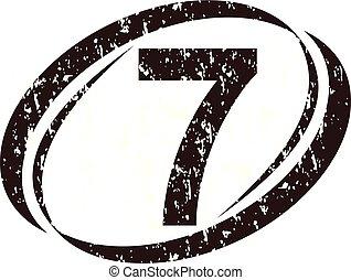 logo, szorstki, liczba 7