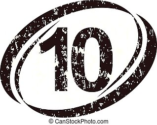 logo, szorstki, liczba, dziesięć