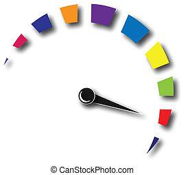 logo, szybkość, barwny, odometr