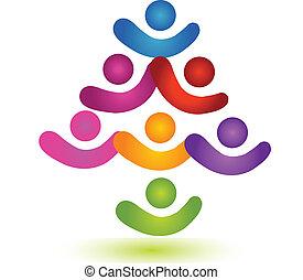 logo, teamwork, barwny, drzewo, towarzyski