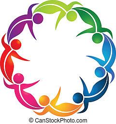logo, teamwork, barwny, liście