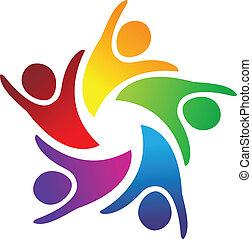 logo, teamwork, ludzie, jedność