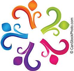 logo, teamwork, ludzkość