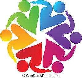 logo, teamwork, miłosierdzie, ludzie