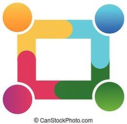 logo, teamwork, pracujący razem