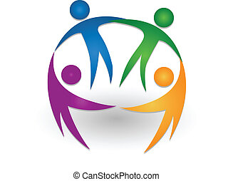 logo, teamwork, razem, ludzie