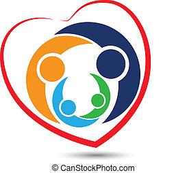 logo, teamwork, rodzina, serce