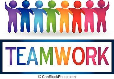 logo, teamwork, tulenie, ludzie