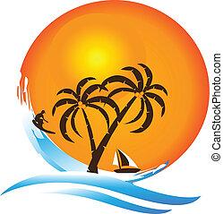 logo, tropikalny raj, wyspa