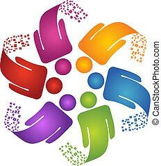 logo, twórczy, projektować, teamwork