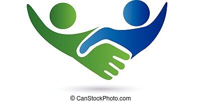 logo, uzgodnienie, handlowy zaludniają