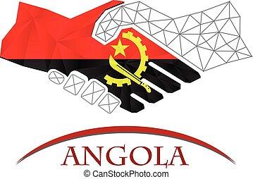 logo, uzgodnienie, robiony, bandera, angola.