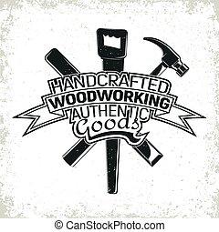 logo, vinatge, wyrabianie z drewna