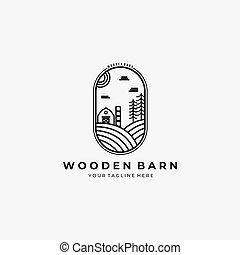 logo, wektor, drewniany, projektować, stodoła, sztuka, ilustracja, kreska, dom, etykieta