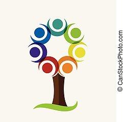 logo, wektor, drzewo, barwny