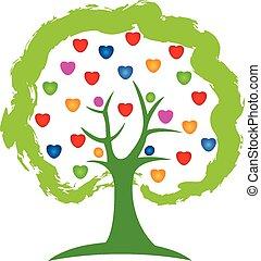 logo, wektor, drzewo, miłość cerca