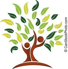 logo, wektor, drzewo
