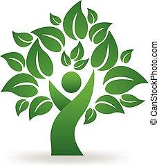 logo, wektor, drzewo, zielony, ludzie