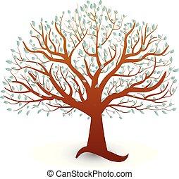 logo, wektor, ekologia, drzewo