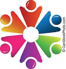 logo, wektor, grupa, ludzie, teamwork