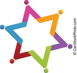 logo, wektor, gwiazda, ludzie, teamwork