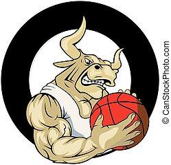 logo, wektor, koszykówka, byk