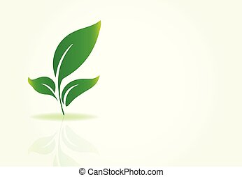 logo, wektor, liście, natura