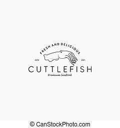 logo, wektor, projektować, sztuka, ilustracja, kreska, fish, restauracja, mątwa