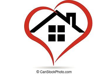 logo, wektor, serce, dom