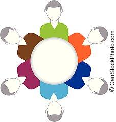 logo, wektor, teamwork, handlowy zaludniają