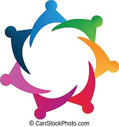 logo, wektor, teamwork, ludzie