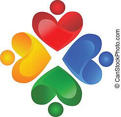 logo, wektor, teamwork, miłosierdzie