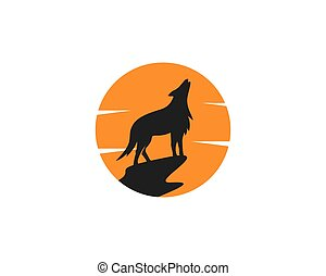logo, wektor, wilk