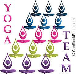 logo, wektor, yoga, drużyna