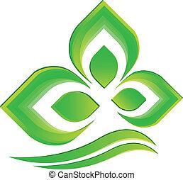 logo, wektor, zielona roślina