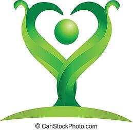 logo, wektor, zielony, figura, natura