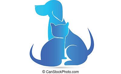 logo, weterynaryjny, pies, kot